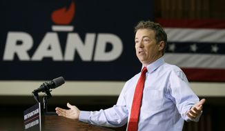 Republican Presidential candidate Sen. Rand Paul, R-Ky., speaks during a rally at the University of Iowa, Friday, April 10, 2015, in Iowa City, Iowa. (AP Photo/Charlie Neibergall) ** FILE **