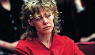 "In this Feb. 6, 1998, file photo, Mary Kay Letourneau listens to testimony during a court hearing in Seattle. Vili Fualaau, who married Letourneau after she was jailed for raping him, says their relationship hasn't always been good, but they've persevered. Fualaau and Letourneau discussed their lives together with Barbara Walters in an interview that will air on ABC News' ""20/20"" Friday, April 10, 2015. Letourneau is a former suburban Seattle teacher who became tabloid fodder in the 1990s when she was convicted of raping the then 12-year-old Fualaau. She served a prison sentence and then married him. (AP Photo/Alan Berner, Pool, File)"