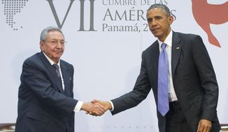 US President Barack Obama and Cuban President Raul Castro shake hands during their meeting at the Summit of the Americas in Panama City, Panama, Saturday, April 11, 2015. The leaders of the United States and Cuba held their first formal meeting in more than half a century on Saturday, clearing the way for a normalization of relations that had seemed unthinkable to both Cubans and Americans for generations.  (AP Photo/Pablo Martinez Monsivais) **FILE**