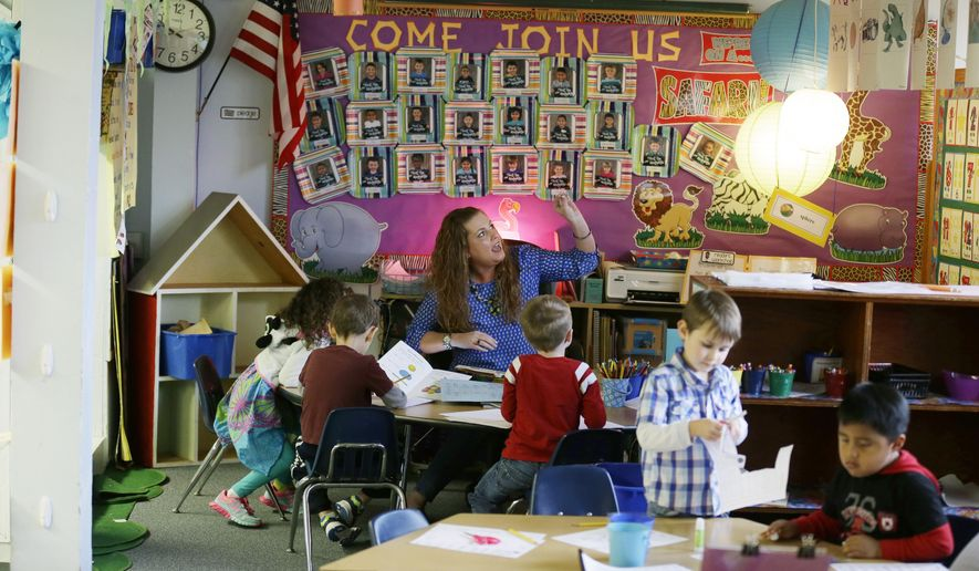 In this March 10, 2015 photo, teacher Haley Fazio, center, works on a lesson with her kindergarten students at Des Moines Elementary School in Des Moines, Wash. When the school, along with others in the Highline School District, decided to give all of its kindergarten students a full day of learning, they had to find extra class space, as well as prepare for upcoming state mandates including smaller classes for kindergarten through third grade. (AP Photo/Ted S. Warren) **FILE**