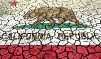 Illustration on the California drought and its causes by Alexander Hunter/The Washington Times