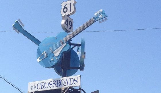 The junction of Highway 61 and Highway 49 in Clarkdale, Mississippi marks the crossroads, the place as legend has it that Robert Johnson sold his soul to the devil in exchange for mastery of the guitar.. (Photographs by Eric Althoff/The Washington Times)