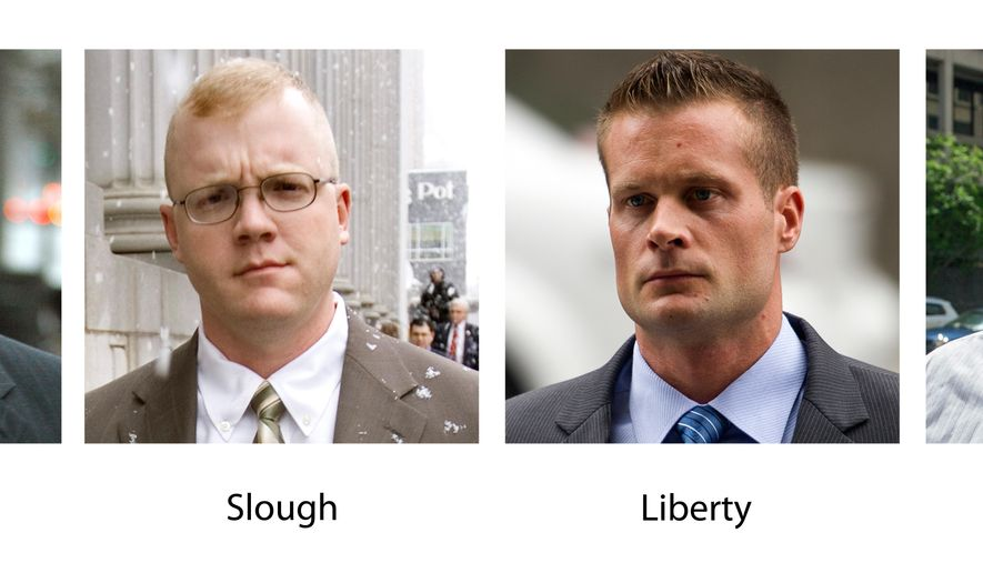 FILE - In these various file photos, Blackwater guards, from left, Dustin Heard, Paul Slough, Evan Liberty and Nicholas Slatten. A years-long legal fight over a deadly mass shooting of civilians in an Iraq war zone reaches its reckoning point, when four former Blackwater security guards are sentenced for the rampage. Three of the guards, Dustin Heard, Evan Liberty and Paul Slough, face mandatory decades-long sentences because of firearms convictions. A fourth, Nicholas Slatten, faces a penalty of life in prison after being found guilty of first-degree murder. (AP Photo/File)