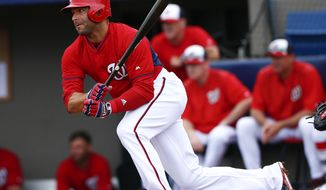 Washington Nationals second baseman Danny Espinosa (8) bats against the New York Yankees in an exhibition spring training baseball game Monday, March 23, 2015, in Viera , Fla. (AP Photo/John Bazemore)