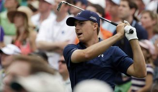 Jordan Spieth watches his tee shot on the sixth hole during the final round of the Masters on Sunday at Augusta National Golf Club. (Associated Press)