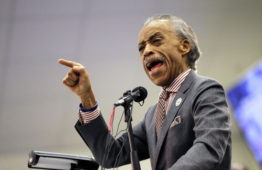 The Rev. Al Sharpton speaks during a service at Charity Missionary Baptist Church in the wake of the death of Walter Scott, the black driver who was fatally shot by a white police officer after he fled a traffic stop, Sunday, April 12, 2015, in North Charleston, S.C. The officer, Michael Thomas Slager, has been fired and charged with murder. (Associated Press) ** FILE **