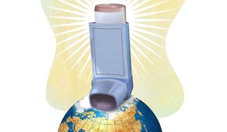 Inhaler Saves Environmental Agenda Illustration by Greg Groesch/The Washington Times