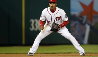 Washington Nationals third baseman Yunel Escobar (5) stands ready during the first inning of a baseball game against the New York Mets at Nationals Park, Wednesday, April 8, 2015, in Washington. (AP Photo/Alex Brandon)