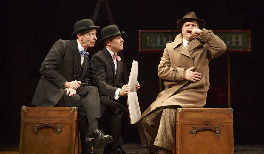 """In this image released by the O and M Company, Arnie Burton, from left, Billy Carter and Robert Petkoff appear during a performance of """"39 Steps,"""" at The Union Square Theatre in New York. (AP Photo/The O and M Company, Joan Marcus)"""
