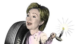 Illustration on Hillary Clinton's campaigning on a poor economy by Alexander Hunter/The Washington Times
