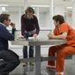 """Director Rupert Goold (center) seen with Jonah Hill (left) and James Franco on the set of """"True Story."""""""
