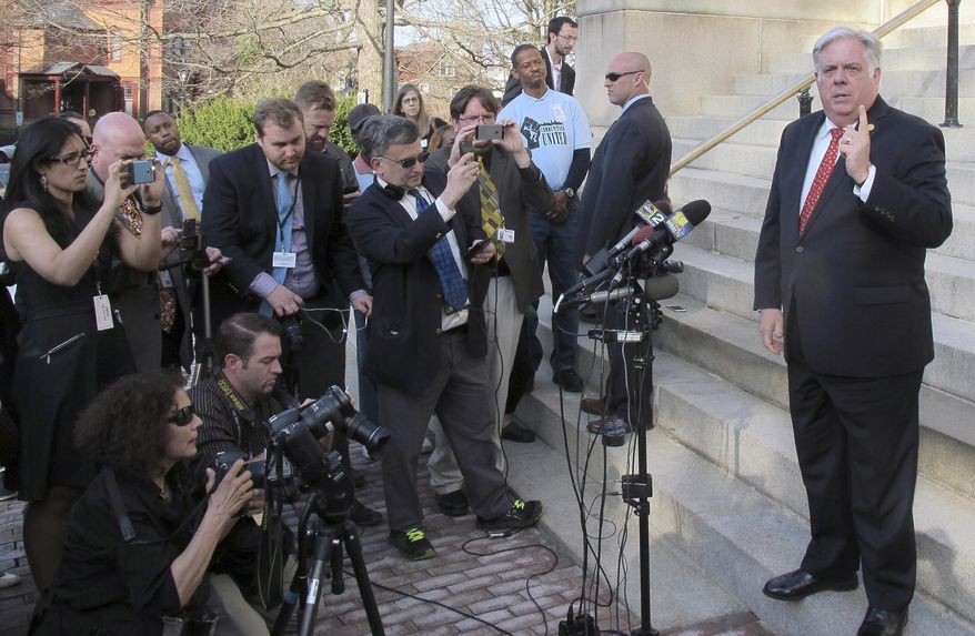 Maryland Gov. Larry Hogan holds a news conference in front of the Maryland State House on the last day of the legislative session Monday, April 13, 2015, in Annapolis, Md. Hogan and Maryland's Democratic-led Legislature are still in a standoff over the state's $40 billion budget with several hours left in the legislative session. (AP Photo/Brian Witte)
