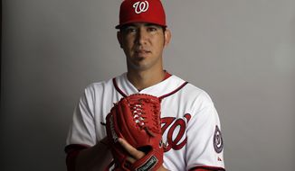 This is a 2012 photo of Rafael Martin of the Washington Nationals baseball team. This image reflects the Nationals' active roster as of Tuesday, Feb. 28, 2012, when this image was taken. (AP Photo/Matt Slocum)