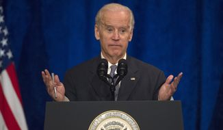Vice President Joe Biden speaks to the University of Notre Dame Leaders Symposium, Tuesday, April 14, 2015, at the Ritz Carlton in Washington. (AP Photo/Molly Riley)