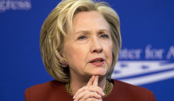 Former Secretary of State Hillary Rodham Clinton speaks in Washington in this March 23, 2015, file photo. (AP Photo/Pablo Martinez Monsivais, File)