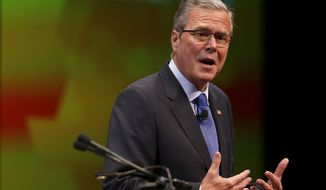 "Former Florida Gov. Jeb Bush delivers a speech during the annual meeting of the Ohio Chamber of Commerce, Tuesday, April 14, 2015, in Columbus, Ohio. The GOP White House prospect kicked off a speech in the battleground state with a series of personal recollections, saying he's his ""own person."" (Jonathan Quilter/The Columbus Dispatch via AP)"