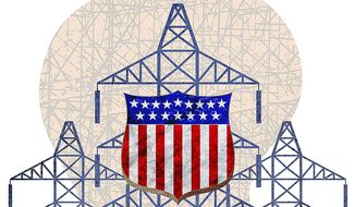 Protecting the U.S. electrical grid illustration by Greg Groesch/The Washington Times