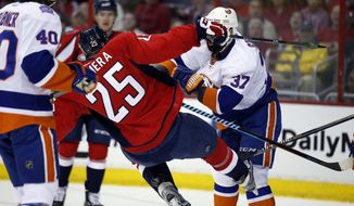 New York Islanders defenseman Brian Strait (37) shoves Washington Capitals left wing Jason Chimera (25) to the ice during the first period of Game 1 of a first-round NHL hockey Stanley Cup playoffs series, Wednesday, April 15, 2015, in Washington. (AP Photo/Alex Brandon)