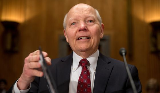 Internal Revenue Service (IRS)  Commissioner John Koskinen testifies on Capitol Hill in Washington, Wednesday, April 15, 2015, before the Senate Homeland Security and Governmental Affairs Committee hearing to examine IRS challenges in implementing the Affordable Care Act. (AP Photo/Andrew Harnik)