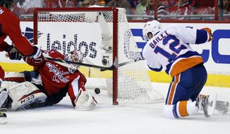 New York Islanders left wing Josh Bailey (12) scores a goal past Washington Capitals goalie Braden Holtby during the second period of Game 1 in a first-round NHL hockey Stanley Cup playoffs series, Wednesday, April 15, 2015, in Washington. (AP Photo/Alex Brandon)