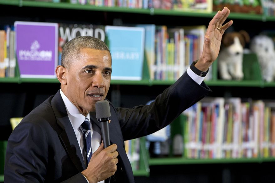 President Barack Obama speaks during a town hall with women bloggers, Wednesday, April 15, 2015, in Charlotte, N.C. The president is drawing contrasts between his tax policies and those of the Republican leaders in Congress. Obama says he has proposed cutting taxes for working families while Republicans want to cut them for the wealthiest families. (AP Photo/Jacquelyn Martin)