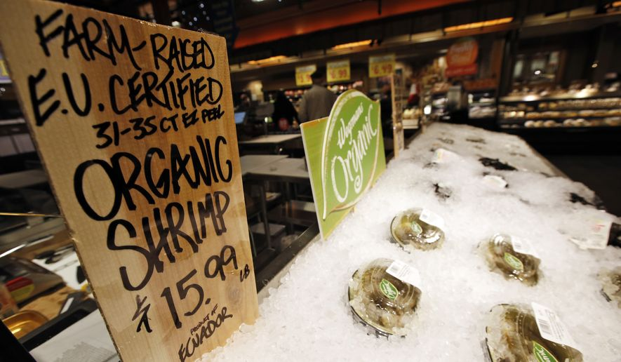 EU certified organic farm-raised shrimp are for sale on at the Wegmans, Friday, April 10, 2015 in Fairfax, Va. Organic fish is certified in the EU and Canada because the U.S. doesn't have any standard. (AP Photo/Alex Brandon)