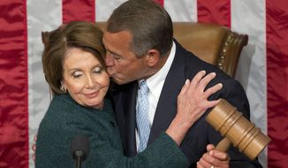 The Medicare bill that patched a 1997 law that was about to foist a 21 percent pay cut on doctors was the product of negotiations between the unlikely duo of House Speaker John A. Boehner, Ohio Republican, and Minority Leader Nancy Pelosi, California Democrat. (Associated Press)