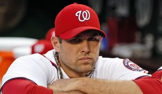 Washington Nationals relief pitcher Craig Stammen (35) pauses in the dugout before a baseball game against the Atlanta Braves at Nationals Park, Tuesday, Sept. 9, 2014, in Washington. (AP Photo/Alex Brandon)