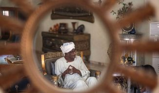Amin Mekki Medani, top lawyer and rights advocate, speaks during an interview in his house, Khartoum, Sudan, in this Monday, April 13, 2015, photo. (AP Photo/Mosa'ab Elshamy)