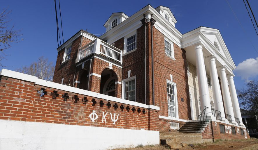 The Phi Kappa Psi fraternity house at the University of Virginia in Charlottesville, Va., Monday, Nov. 24, 2014. (AP Photo/Steve Helber) ** FILE **