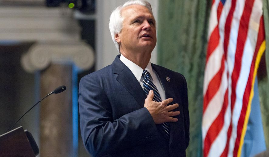 State Senate Speaker Ron Ramsey, R-Blountville, presides over a floor session in Nashville, Tenn., on Thursday, April 16, 2015. Ramsey opposed a bill seeking to make the holy Bible the official book of Tennessee. (AP Photo/Erik Schelzig)