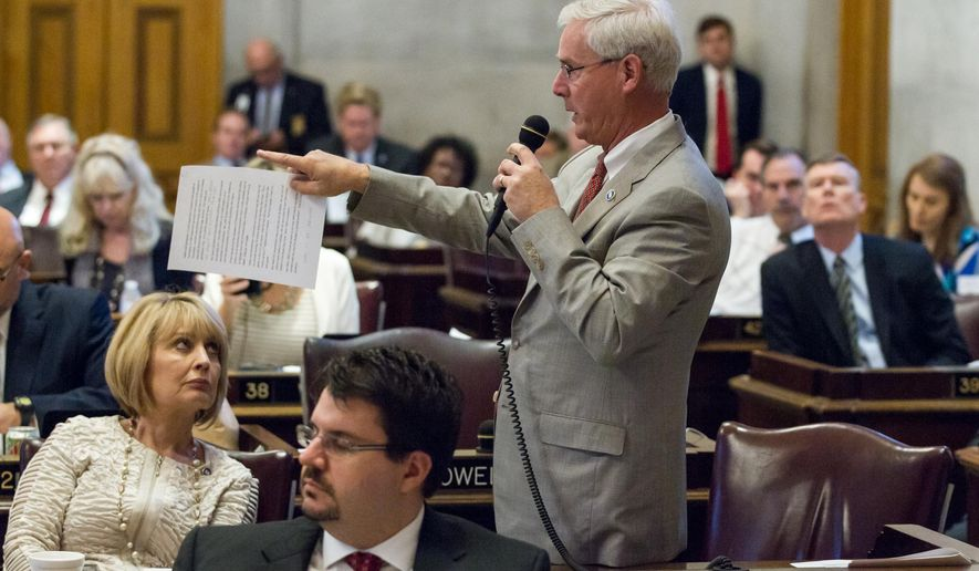Rep. David Alexander, R-Winchester, makes a proposal to adjust the state budget to reduce money for a new state museum during a House floor session in Nashville, Tenn., on Thursday, April 16, 2015. The chamber rejected Alexander's amendment before passing the state's annual spending plan. (AP Photo/Erik Schelzig)