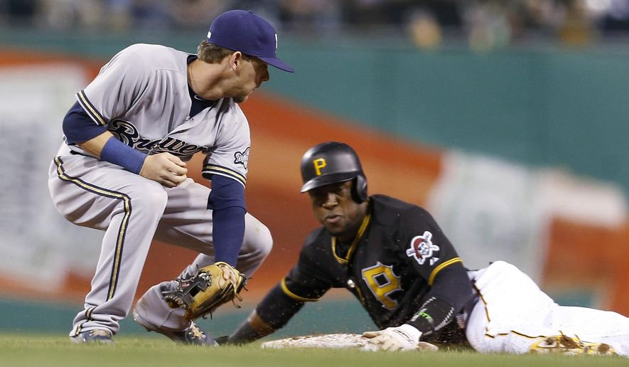Pittsburgh Pirates' Gregory Polanco, right, steals second as Milwaukee Brewers second baseman Scooter Gennett looks to tag him during the fifth inning of a baseball game, Friday, April 17, 2015, in Pittsburgh. (AP Photo/Keith Srakocic)