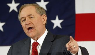 Former Virginia Gov. Jim Gilmore speaks at a Republican Leadership Summit, Friday, April 17, 2015, in Nashua, N.H. (AP Photo/Jim Cole) ** FILE **