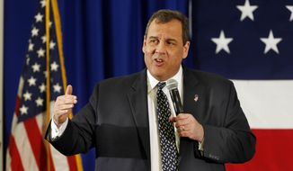 New Jersey Gov. Chris Christie, R-N.J. speaks at a Republican Leadership Summit, Friday, April 17, 2015, in Nashua, N.H. (AP Photo/Jim Cole) ** FILE **
