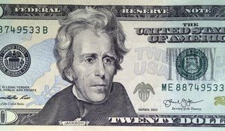A likeness of Andrew Jackson, seventh President of the United States, adorns the front of $20 bill Friday, April 17, 2015, in Boston. Sen. Jeanne Shaheen, D-NH, filed legislation Tuesday to create a citizens panel to recommend an appropriate woman candidate to be put on the bill. (AP Photo/Bill Sikes)
