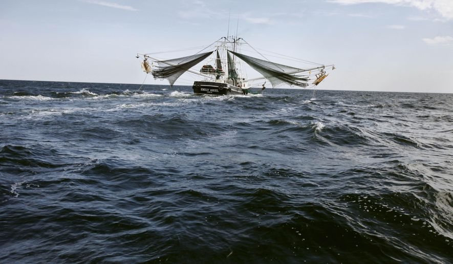 """FILE - This April 27, 2010 file photo shows a shrimp boat in the Gulf of Mexico near the Chandeleur Islands, off the Southeastern tip of Louisiana. Five years after the Deepwater Horizon oil rig explosion, """"The spill was _ and continues to be _ a disaster,"""" said Oregon State marine sciences professor Jane Lubchenco, who was the head of the National Oceanic and Atmospheric Administration during the spill. """"The bottom line is that oil is nasty stuff. Yes, the Gulf is resilient, but it was hit pretty darn hard."""" (AP Photo/Gerald Herbert, File)"""