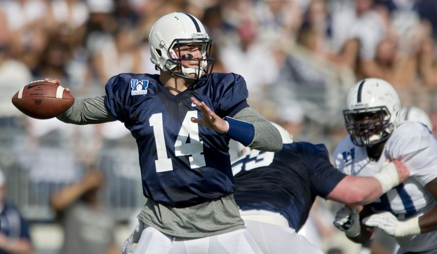 Blue team quarterback Christian Hackenberg makes a pass during the NCAA college football team's Blue White spring football game Saturday, April 18, 2015, in State College, Pa. (Abby Drey/Centre Daily Times via AP)