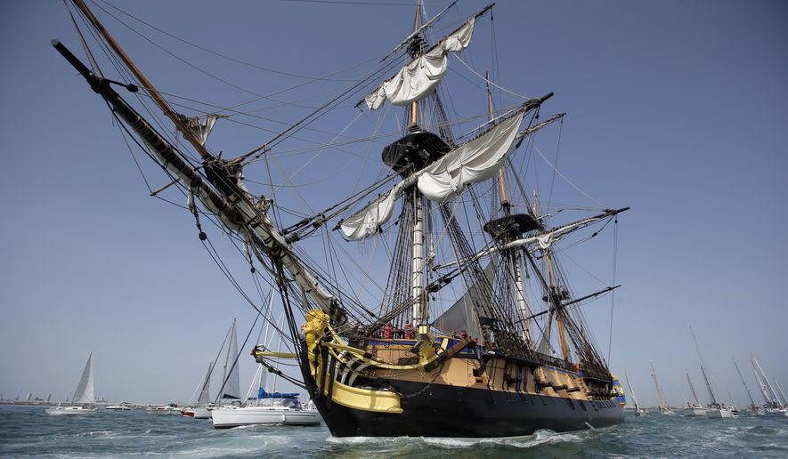 The three masts of the 213 feet long frigate Hermione sails at La Rochelle, southwest France, as part of preparation of a trip to America, Wednesday, April 15, 2015. The replica of the frigate Hermione, which, in 1780, allowed La Fayette to cross the Atlantic to America and join the American rebels in their struggle for independence aims to cross the Atlantic and will sets off on Saturday. (AP Photo/Francois Mori)
