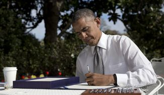 """In this April 16, 2015, photo, President Barack signs the bill H.R. 2 Medicare Access and CHIP Reauthorization Act of 2015 in the Rose Garden of the White House in Washington. On Iran, Medicare, education and trade, Republicans and Democrats have come together to make deals, and that's something rarely seen lately. """"It's great,"""" Republican Sen. John Cornyn of Texas said after the Senate followed the House's lead this past week in overwhelmingly passing a bill overhauling the Medicare payment system for doctors. """"There's just a huge pent-up demand to actually get something done, on both sides.""""  (AP Photo/Carolyn Kaster)"""