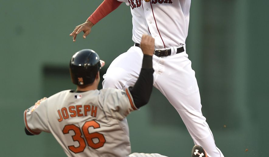 Red Sox shortstop Xander Bogaerts, top, leaps over Baltimore Orioles' Caleb Joseph after stepping on the bag to get Joseph out to end the eighth inning of a baseball game, Saturday, April 18, 2015, in Boston. (AP Photo/Gretchen Ertl)