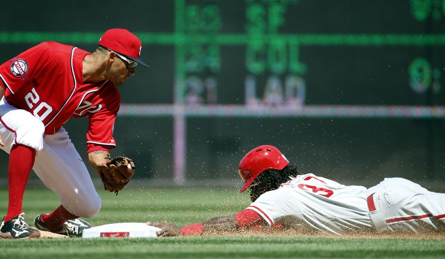 Washington Nationals shortstop Ian Desmond (20) can't make the tag as Philadelphia Phillies' Odubel Herrera steals second during the fifth inning of a baseball game at Nationals Park, Saturday, April 18, 2015, in Washington. (AP Photo/Alex Brandon)