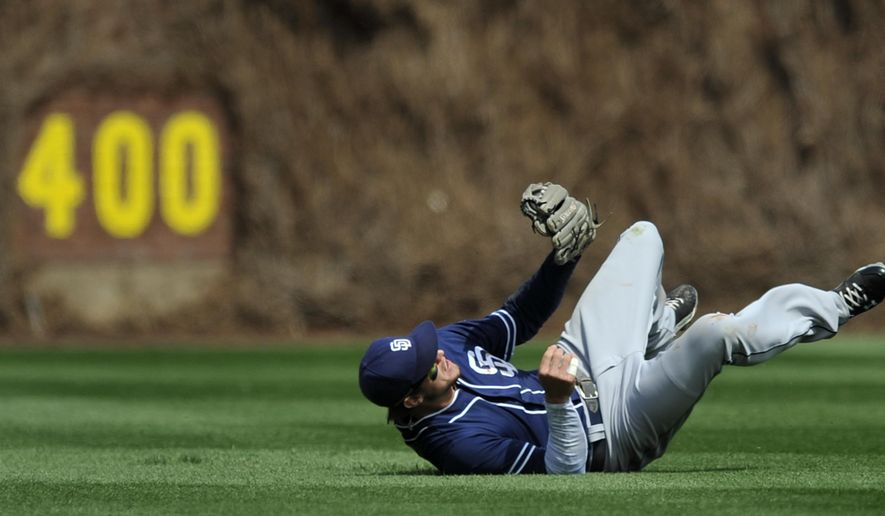 San Diego Padres center fielder Will Myers catches a line drive hit by Chicago Cubs' Chris Coghlan during the first inning of an MLB baseball game Saturday, April 18, 2015, in Chicago. Chicago won 7-6 in eleven innings. (AP Photo/Paul Beaty)