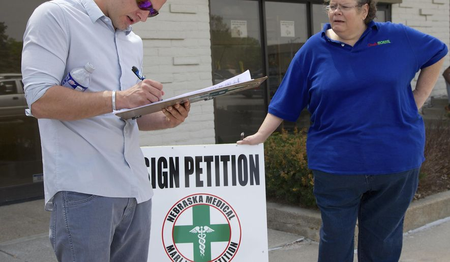Activist Maggie Graham, right, collects a signature from Nick Wages, of Omaha, for a petition to place medical marijuana on the ballot in Omaha, Neb., Friday, April 17, 2015.  A new Nebraska law that lifts restrictions on petition circulators may have given a boost to an unlikely group: advocates for medical marijuana. Frustrated by inaction in the Nebraska Legislature, supporters say they're circulating signatures to place the issue before voters in 2016 _ and the petition law just made their job easier.  (AP Photo/Nati Harnik)