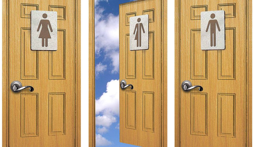 Transgender bathroom illustration by Greg Groesch/The Washington Times