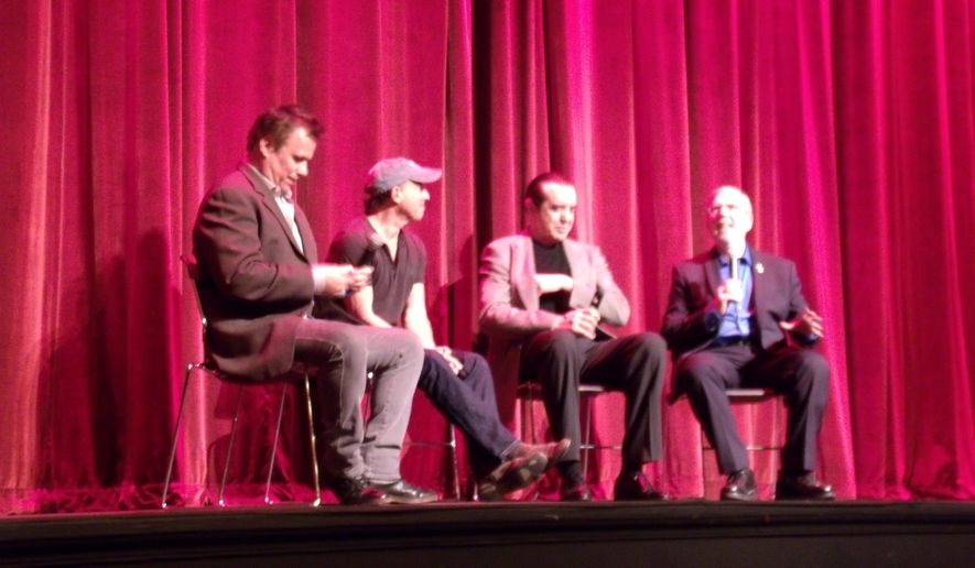 From left: Richard Roeper, producer Jon Kilik, Chazz Palminteri and Leonard Maltin at Ebertfest 2015.