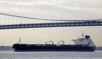 The Overseas Acadia is anchored in New York Harbor. With U.S. energy production near record highs, pressure is mounting on the Obama administration to lift a 40-year-old ban on crude oil exports, but the White House shows no signs of changing course. (Associated Press)