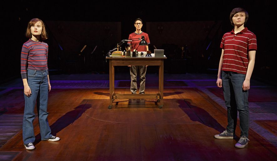 """This photo provided by O&M Co shows Sydney Lucas as Small Alison, Beth Malone as Alison, and Emily Skeggs as Medium Alison in """"Fun Home"""" at Circle in the Square Theatre in New York. """"Fun Home,"""" with a book and lyrics by Lisa Kron and music by Jeanine Tesori, played for four months at the off-Broadway Public Theater last year. It's been adapted from Alison Bechdel's graphic memoir about growing up in a funeral home with a closeted gay dad.(Joan Marcus via AP)"""