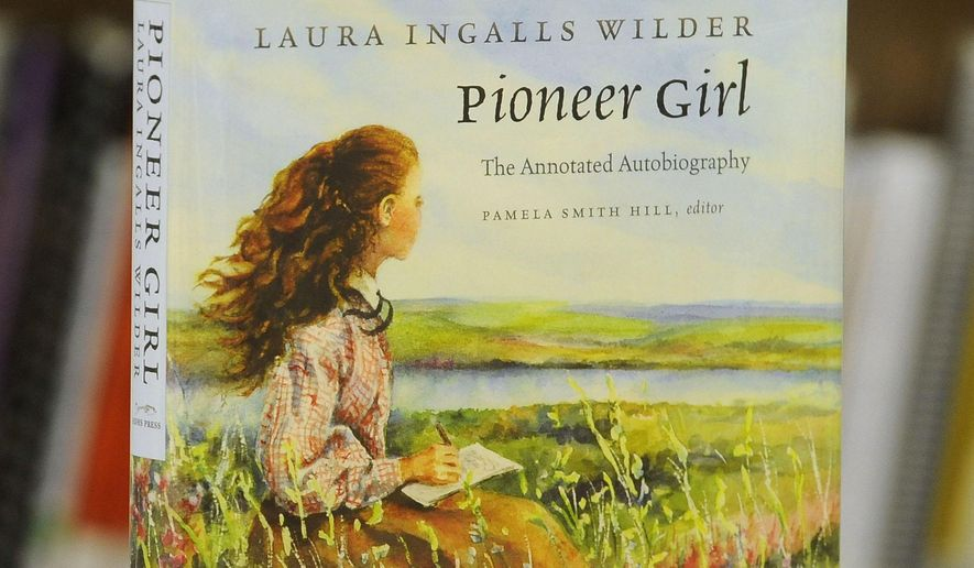 "The ""Laura Ingalls Wilder Pioneer Girl"" book is in the Caille Room at the downtown library in Sioux Falls, S.D., Thursday, Feb. 5, 2015. (Emily Spartz/Argus Leader via AP) NO SALES"