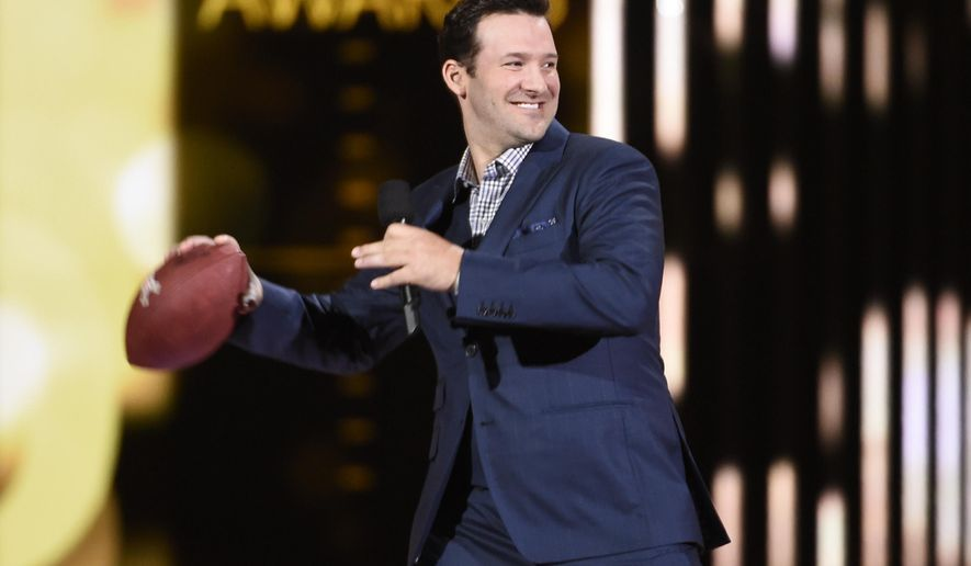 Tony Romo appears on stage at the 50th annual Academy of Country Music Awards at AT&T Stadium on Sunday, April 19, 2015, in Arlington, Texas. (Photo by Chris Pizzello/Invision/AP)